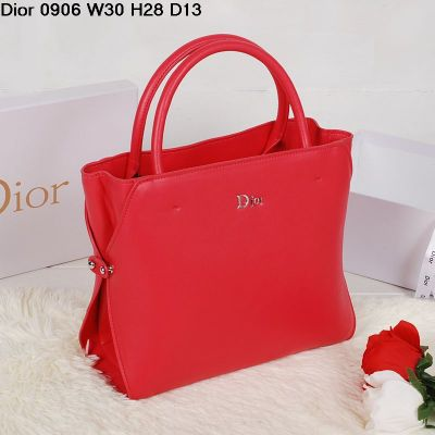 2017 New Dior Red Calfskin Leather Tote Bag Top Handle Silver Side Snap Buttons Medium