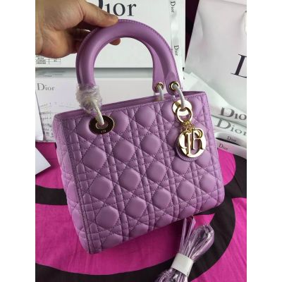 Light Purple Medium Dior Lady Cannage Leather Totes Golden Hardware Crossbody Bag Online Price Replica