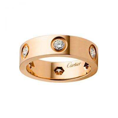 Cartier Love Ring Pink Gold Four Diamonds B4097500 Top Sterling Silver Replica Sale