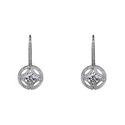 Galanterie de Cartier Drop Earrings Replica N8515038 Hollow Crystals Sterling Silver Engagement Jewelry For Sale