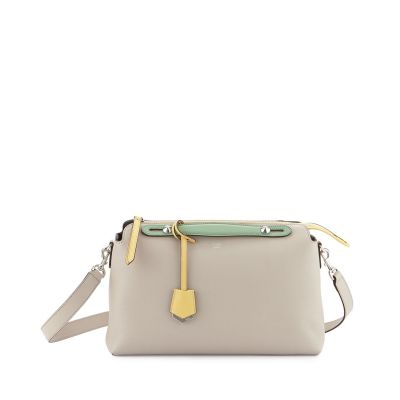 Fendi By The Way Large Grey Leather Ladies Silver Zipper Totes Palegreen Flat Handle Tri-color