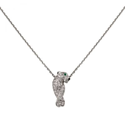 Panthere de Cartier Necklace Replica B7224600 Sterling Silver Diamonds Panther Hot Sale Jewelry For Women