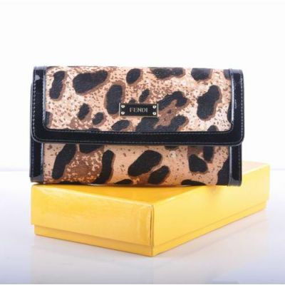 Imitation Fendi Leopard Pattern Horsehair Leather With Black Patent Leather Lining Women's Long Flap Wallet