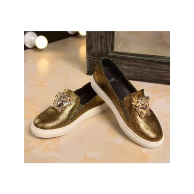 Shining Versace Palazzo Golden Calfskin Leather Slip-on Medusa Loafers With Golden Powder For Girls