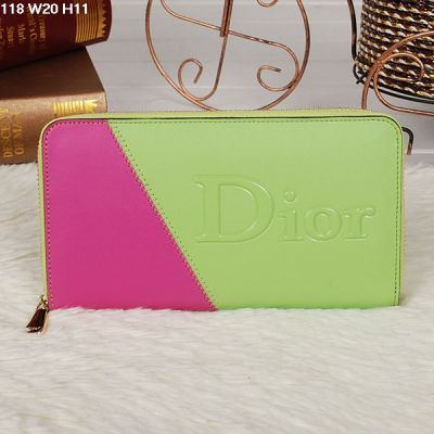 Latest Christian Dior Lime-Peach Yellow Gold Plated Zipper Closure Wallet Top Sale
