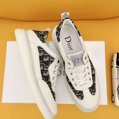 Replica a 2021 Dior Spring Summer Leisure Style Oblique Galaxy Pattern Male White Genuine Leather Sneakers 38-44