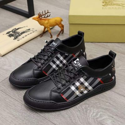 High Quality Burberry Logo Pattern Bee Embroidery Detail Check Motif Black Leather Patchwork Lace-up Sneakers For Men