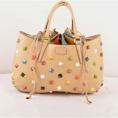 Fendi B Fab Multicolor Studs Curved Top Apricot Ferrari Leather Large Tote Bag For Womens