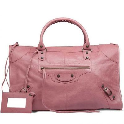 Balenciaga Long Pink Leather Classic Work Ladies Leather Trimming Golden Buckle Zipper Shoulder Bag Replica