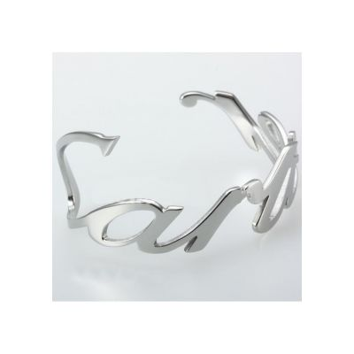 Low Price Cartier Motif Charm Band Bangle Stainless Steel Silver Bracelet Rousing Curves Design