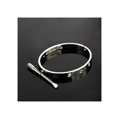 Replicated Cartier Love Band UK Silver Plated With Diamond Wedding Bracelet Jewelry