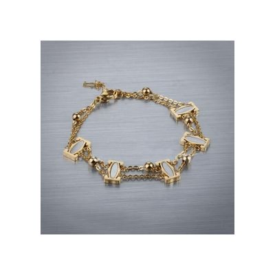 C de Cartier Logo Chain Bracelet  White/Pink/Yellow Gold Plated Link Bangle For Ladies