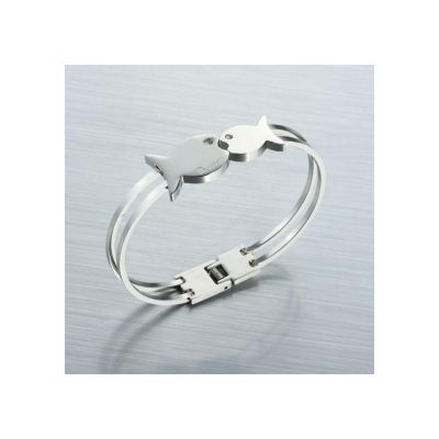 Cartier Wedding Bands Replicas For Men Stainless Steel Bangle With Couple Fish Style Low Price Bracelet