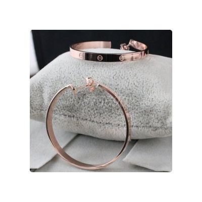 Cheap Cartier Love Hoop Earrings Imitation 18K Pink Gold Plated Estate Jewelry