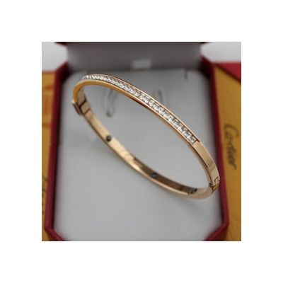 Best Cartier Cuff Bangle Replica Pink Gold Band Set With Diamonds Online Shop India