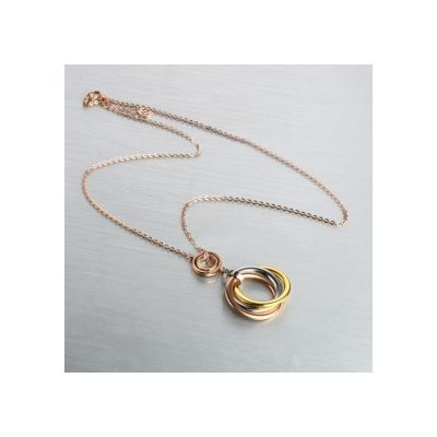 Trinity De Cartier Rose Gold Plated Three Interlaced Bands Pendant Neckalce Hot Sale Jewelry Women