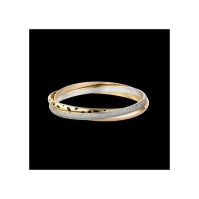 Charming Cartier Trinity Diamonds Band N6037916 Replica CLB339 3-Gold Lacquer Bracelet For Sale On Internet
