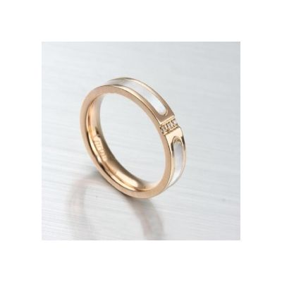 Cartier Wedding Band Knock Off White/Rose Gold Plated White Enamel For Sale