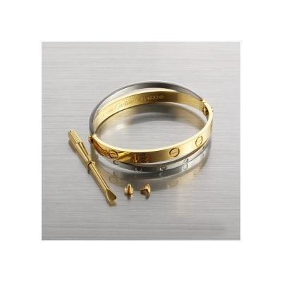 Cartier Inspired Love Bracelet Shop Online Sale White & Yellow Gold Double Bangle