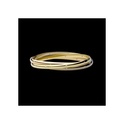 Elaborate Cartier Trinity Bangle With Diamonds N6034001 Replica Lacquer Band In 3-Gold