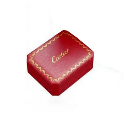 High Quality Cartier Imitation Red Jewelry Box with Festive Pattern and Black Inner