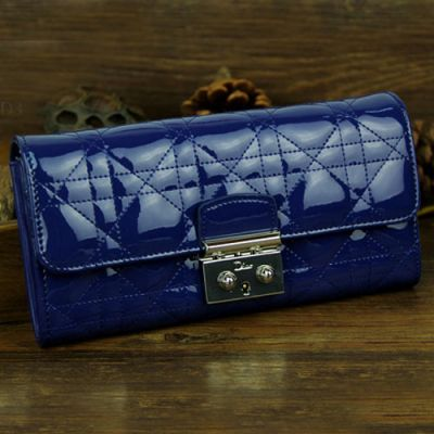 """Dior Flap Patent Leather High End """"Lady Dior"""" Long Cannage Wallet Silver Hardware Clutch Bag"""