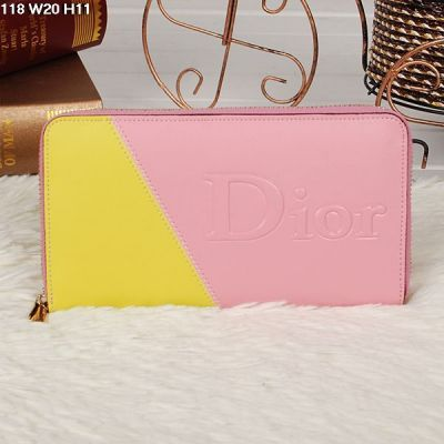 Zip Around Long Dior Ladies Leather Wallet Yellow & Pink For Sale UK