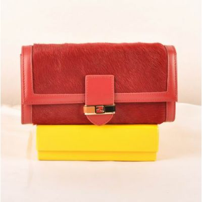 Women's Narrow Leather Belt Two-Tone Long Loop Many Card Slots Red Horsehair Leather Long Flap Wallet