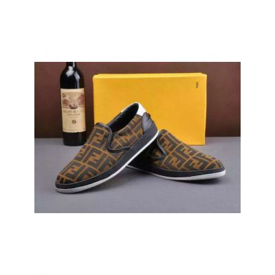 """Low Price Fendi Double """"F"""" Printed Mens Leather Detail Brown Fabric Slip-on Leisuer Loafers"""