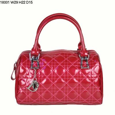 AAA Quality Dior Peach Patent Leather Lady Dior Large Volume Boston Bag Silver Zipper Closure
