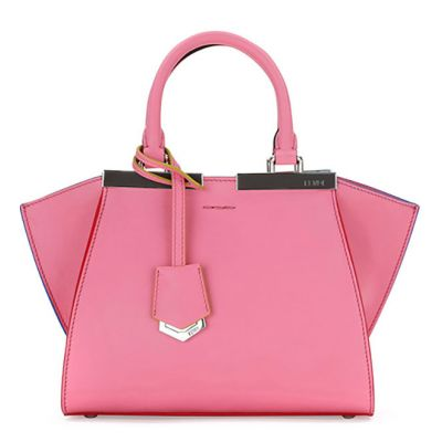Sweet Style Fendi 3 Jours Mini Top Handle Silver Palladium Hardware Pink Leather Tote Bag For Girls