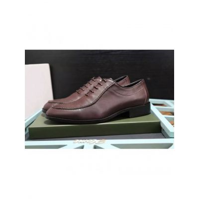 Bally Rubber Outsole High End Pigskin Leather Upper Mens British Style Lace-up Leather Shoes Black/Burgundy