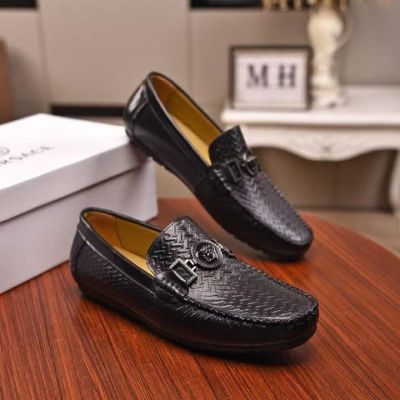 High Quality Versace Classic Medusa Motif Stud Fashion Wave Embossing Male Black Calfskin Leather Loafers UK