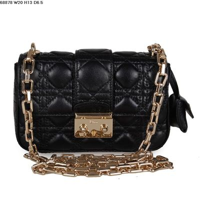 Elegant Style Miss Dior Black Cannage Quilted Shoulder Bag Lambskin Leather Gold Plated Chain Strap