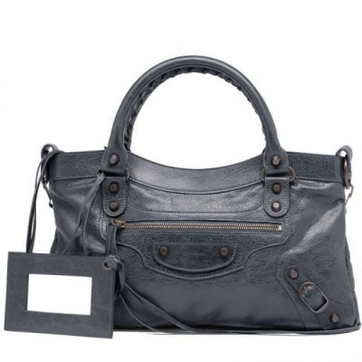 Balenciaga Top Handle Classic First Ladies Anthracite Leather Curved Top Fake Handbag Golden Studs