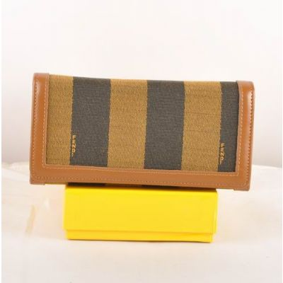 Fendi Earth Yellow Leather Edge Striped Fabric Long Flap Many Card Slots Wallet For Womens