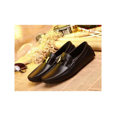 """Hermes Chic """"H"""" Buckle Black Calfskin Leather Hand-Sewn Upper Mens Casual Shoes & Mocassins Replica"""