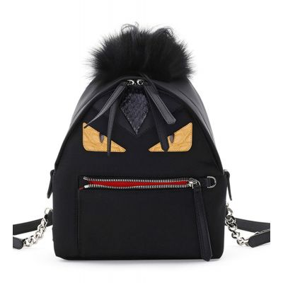 Fendi Bugs Eyes Colorful  Leather Trimming Double Pull Zipper Ladies Black Backpack Mini For Sale