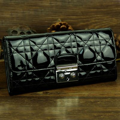 """Fashion Dior """" Lady Dior"""" Long Black Patent Leather Flap Cannage Quilted Wallet Silver Buckle"""