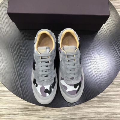Best Valentino Silver Studs Detail Mens Gray Suede Leather Lace-up Camouflage Sneakers