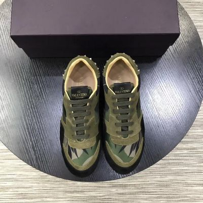 Imitation Spring/Fall Mens Valentino Silver Rivets Design Green & Black Suede Leather Lace-up Camouflage Sneakers