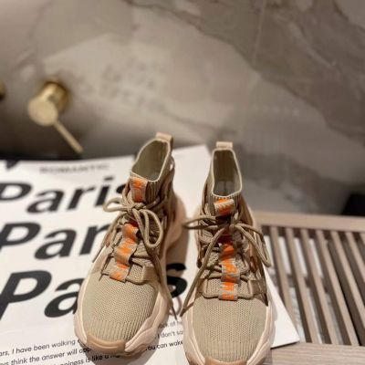 Spring Fashion Celine Female Leisure Style Fabric Knit Lace-up Women's High-Top Moccasins Fake Sneakers Beige/Black