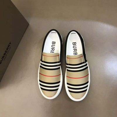 Burberry Simple Style Vintage Check Pattern White Tpu Sole Men Cabon & Black Leather Patchwork Sneakers Online