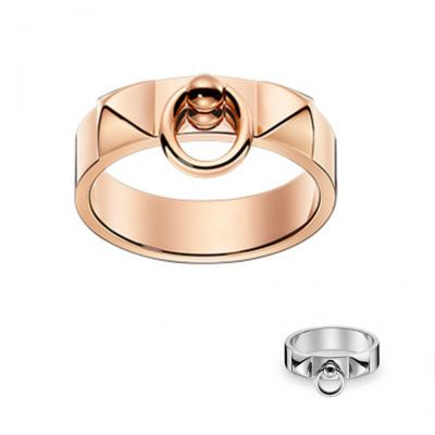 Hermes Collier de Chien Vintage Unisex Replica Buckle Ring Silver OR Rose Gold H108118B 00046