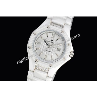 AP Offshore Lady  All White Dress Slam Slim Ceramic Wistband Jewelry Watch