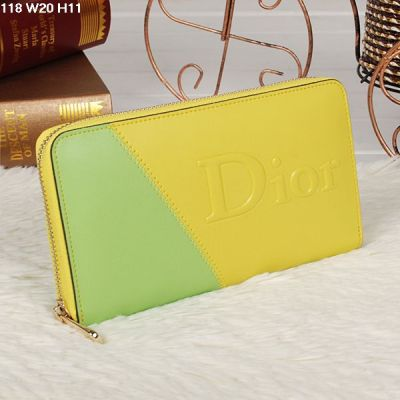 Fresh Style Dior Multicolor Zip-around Female Leather Wallet Golden Hardware Yellow-lime
