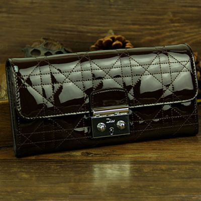 """High Quality Coffee Dior """"Lady Dior"""" Cannage Flap Wallet Patent Leather Zip Pocket"""