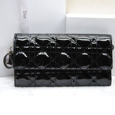 Dior 2017 Summer Black Lady Dior Flap Wallet In Patent Leather Price In Paris