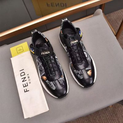Fendi Top Sale White F Logo Monster Pattern Males Black Cow Leather Lace-up Sneakers Online