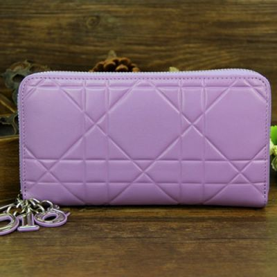 """Fashion Light Purple Dior """"Lady Dior"""" Patent Cannage Leather Silver Zipper wallet For Girls Online"""